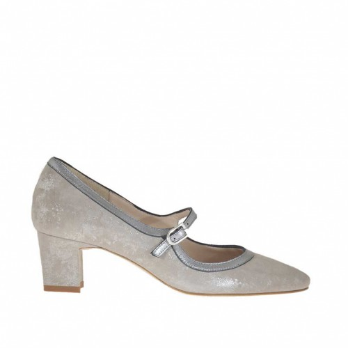 Woman's pump shoe with strap in silver laminated taupe suede and silver leather heel 5 - Available sizes:  46