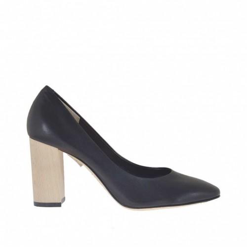 Escarpin pour femmes en cuir noir avec talon 8 de couleur de bois - Pointures disponibles:  34
