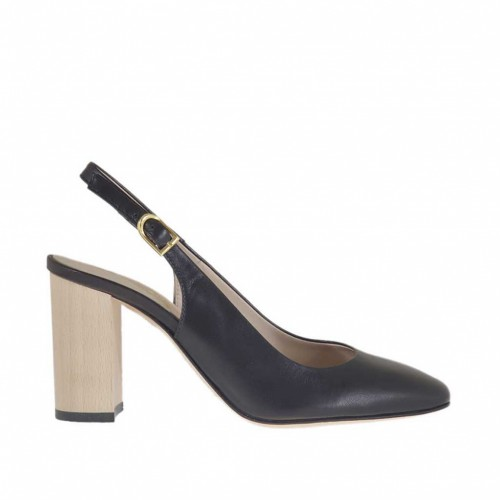 Woman's chanel pump in black leather with wood-colored heel 8 - Available sizes:  31, 32, 34, 43, 45, 46