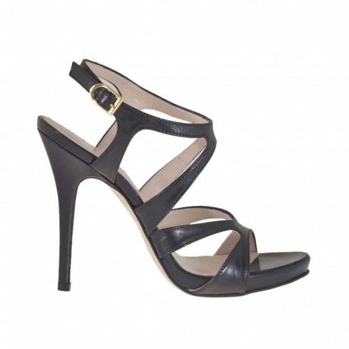 Sandale pour femmes avec plateforme intérieure en cuir noir talon 11 - Pointures disponibles:  42