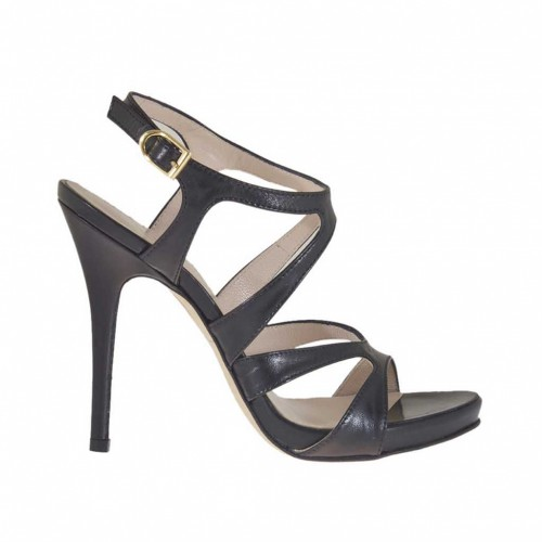Woman's sandal in black leather with inner platform heel 11 - Available sizes:  42, 44