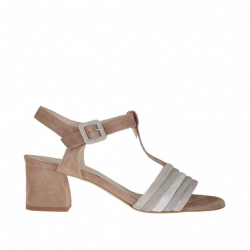 Woman's t-strap sandal in earthtone and laminated taupe, grey and silver suede heel 5 - Available sizes:  45, 46