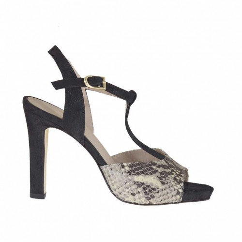 Woman's T-strap sandal in black, beige and taupe printed leather and black suede with platform heel 11 - Available sizes:  43, 44, 46