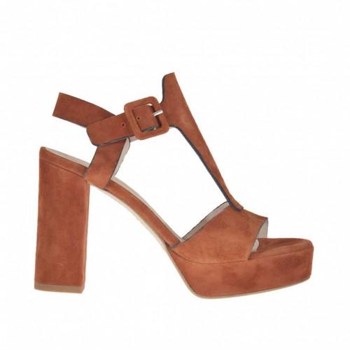 Sandale pour femmes avec plateforme en daim couleur rouille talon 9 - Pointures disponibles:  42, 43