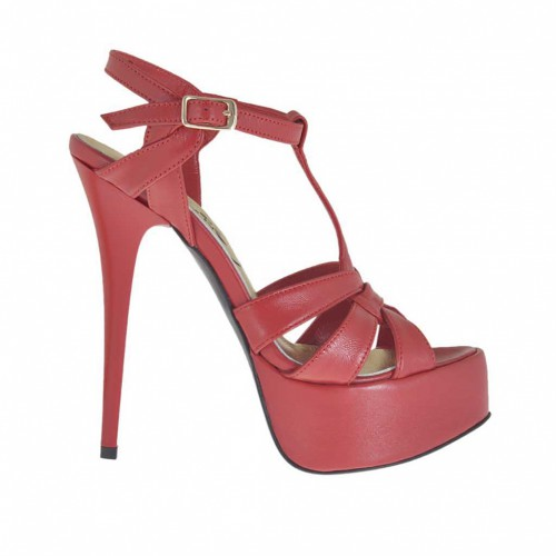 Woman's sandal with crossed straps and platform in red leather heel 13 - Available sizes:  42, 45