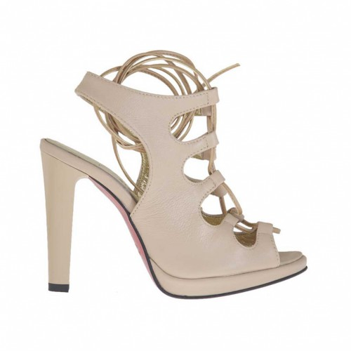 Woman's sandal with platform and laces in powder beige leather varnished heel 10 - Available sizes:  42