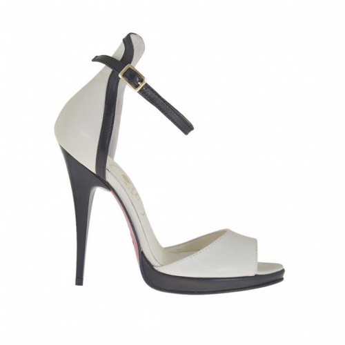 Woman's open shoe with platform and strap in ivory and black leather varnished heel 10 - Available sizes:  45