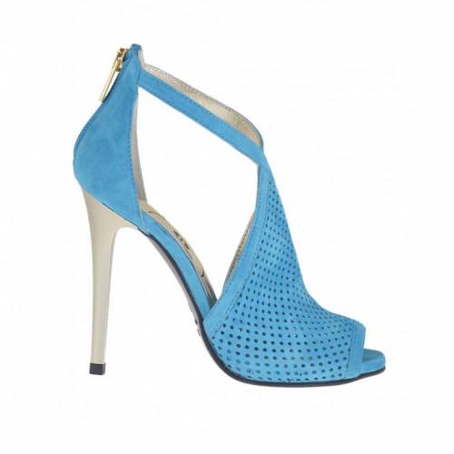 Chaussure ouvert pour femmes avec fermeture éclair en daim perforé turquoise avec talon 10 en vernis platine - Pointures disponibles:  42