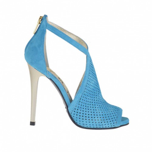 Woman's open shoe with zipper in turquoise pierced suede with platinum varnished heel 10 - Available sizes:  42