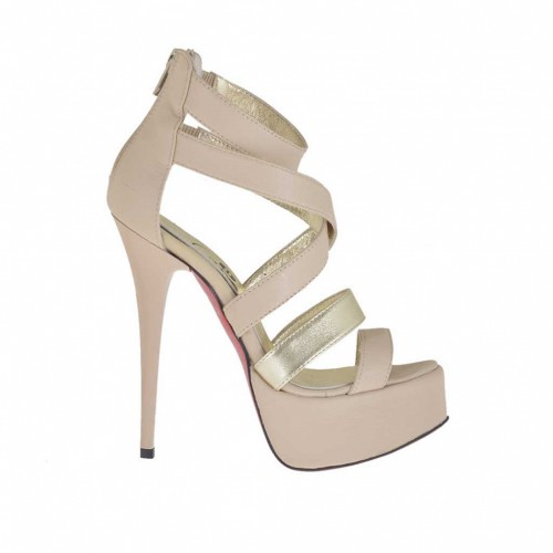 Woman's open shoe with zipper and platform in powder beige and platinum leather heel 13 - Available sizes:  42, 43