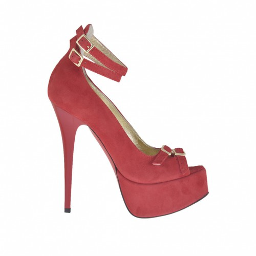Woman's open shoe with straps and platform in red suede varnished heel 13 - Available sizes:  42, 43