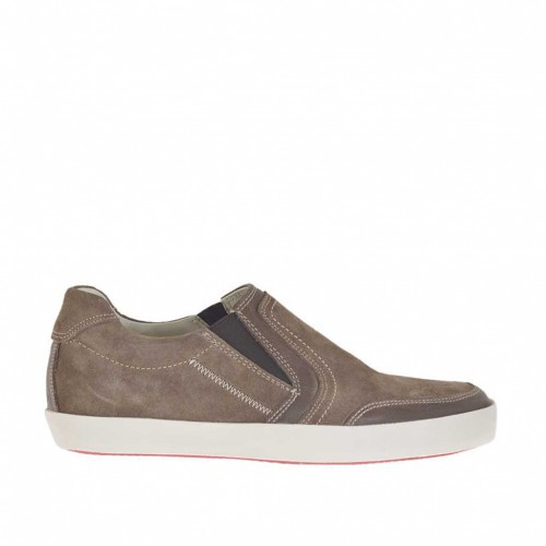 Chaussure sportif pour hommes avec elastiques en daim et cuir marron  - Pointures disponibles:  46