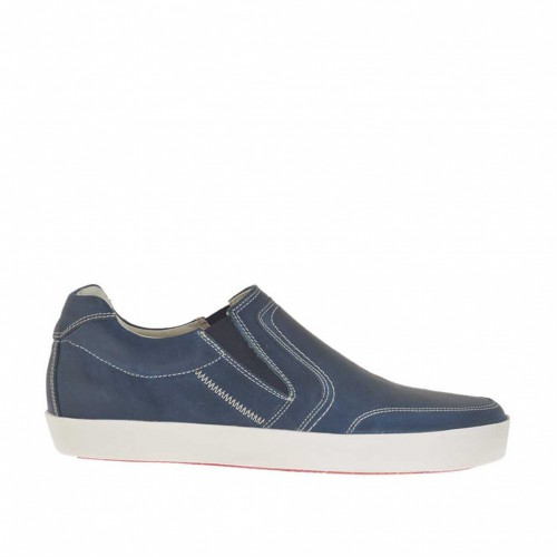 Men's sports shoe with elastics in dark aviation blue leather - Available sizes:  46, 47