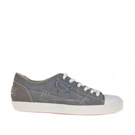 Chaussure sportif à lacets pour hommes en tissu de couleur fumée et cuir gris - Pointures disponibles:  36, 46