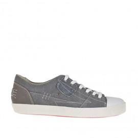 Zapato deportivo con cordones para hombre en tejido color humo y piel marron - Tallas disponibles: 36, 37, 46, 47