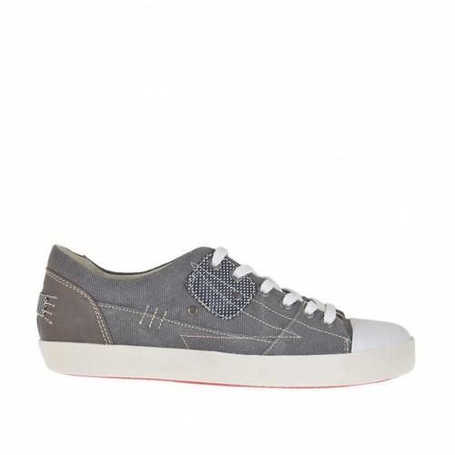 Chaussure sportif à lacets pour hommes en tissu de couleur fumée et cuir marron - Pointures disponibles:  36, 46