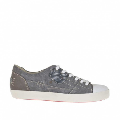 Men's laced sports shoe in smoke-colored fabric and brown leather  - Available sizes:  36, 37, 46