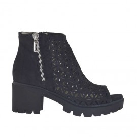 Woman's open shoe with zippers in black nubuck and pierced nubuck leather heel 6 - Available sizes: 34, 44