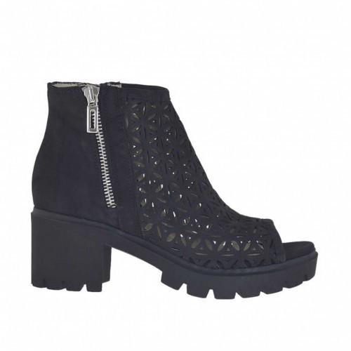 Chaussure ouvert pour femmes avec fermetures éclair en cuir nubuck et cuir nubuck perforé noir talon 6 - Pointures disponibles:  34