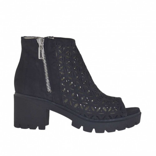 Woman's open shoe with zippers in black nubuck and pierced nubuck leather heel 6 - Available sizes:  34