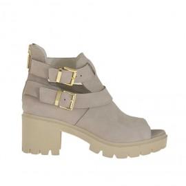Zapato abierto con cremallera y hebillas para mujer en piel nabuk beis tacon 6 - Tallas disponibles:  34, 45