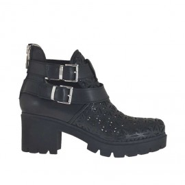 Woman's ankle boot with buckles and zipper in black leather and pierced leather heel 6 - Available sizes:  34