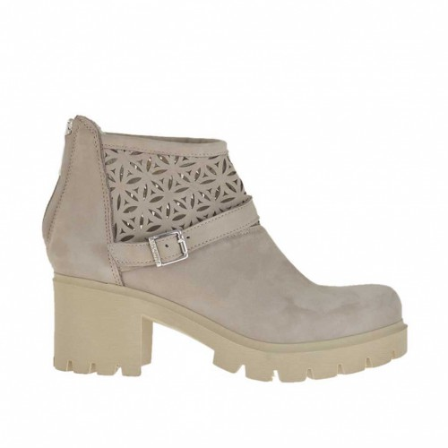 Woman's ankle boot with zipper and buckle in beige nubuck and pierced nubuck leather heel 6 - Available sizes:  42