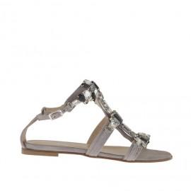 Sandalo infradito da donna con strass e pietre in camoscio grigio tortora tacco 1 - Misure disponibili: 32