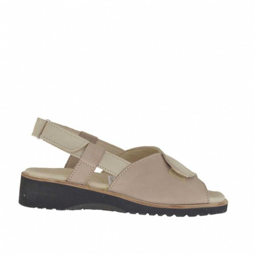 Woman's sandal with velcro straps in beige nubuck leather wedge heel 3 - Available sizes:  34