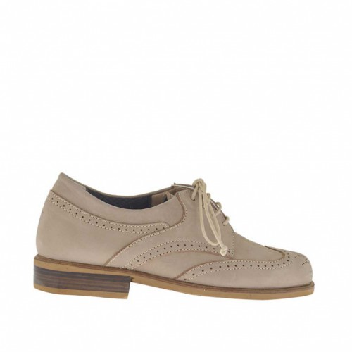 Woman's laced Oxford shoe in beige nubuck leather with removable insole heel 2 - Available sizes:  32, 45