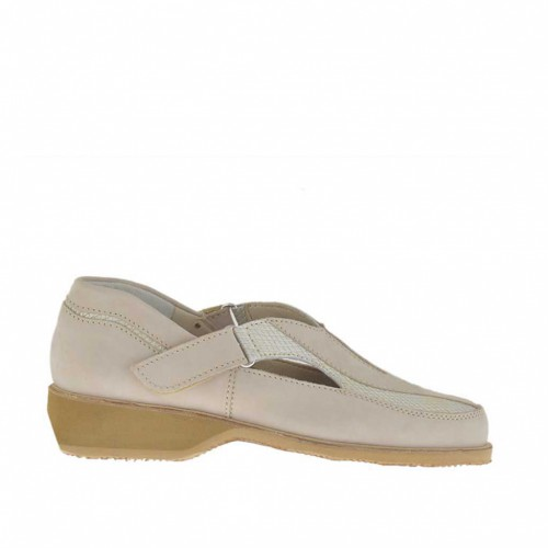 Woman's closed shoe in beige nubuck leather and ice-colored fabric with velcro straps wedge heel 3 - Available sizes:  33, 45