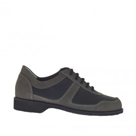 Men's sports laced shoe in grey nubuck leather and pierced black leather - Available sizes:  36