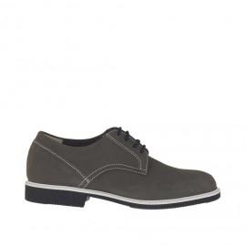 Chaussure sportif pour hommes à lacets en cuir nabuk gris - Pointures disponibles: 36, 47