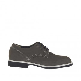 Men's sports laced shoe in grey nubuck leather - Available sizes: 36, 47