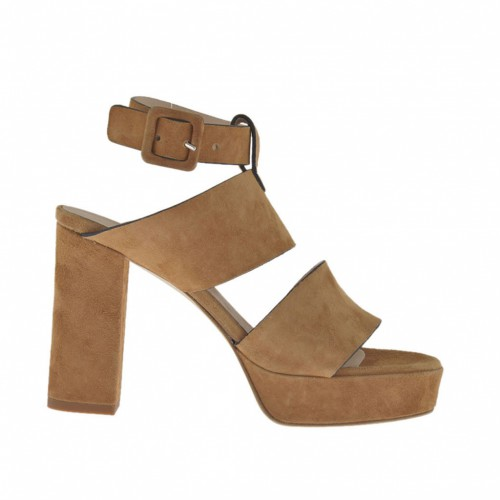 Woman's platform sandal with ankle strap in chestnut beige suede heel 9 - Available sizes:  31, 43