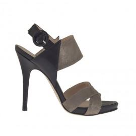 Sandalo da donna con plateau in pelle nera e taupe laminata platino tacco 10 - Misure disponibili: 31, 32, 42, 43, 44, 45, 46