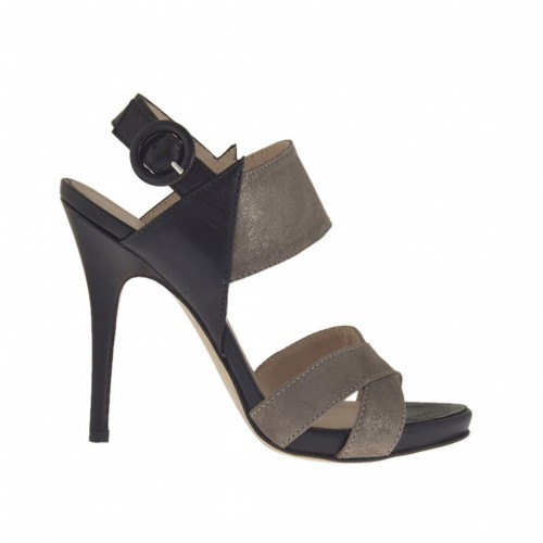 Woman's sandal with platform in black and platinum laminated taupe leather heel 10 - Available sizes:  43