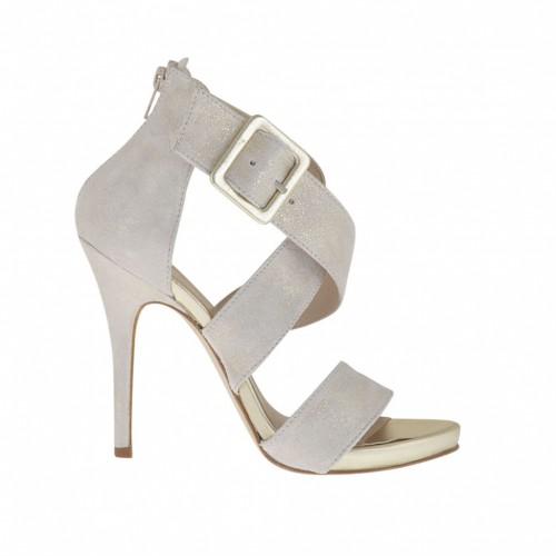 Chaussure ouvert pour femmes avec fermeture éclair, boucle et plateforme en cuir latine et daim glace lamé platine talon 11 - Pointures disponibles:  42, 44
