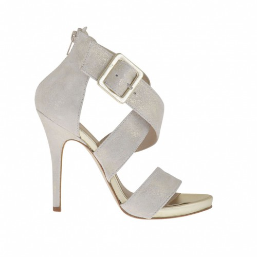Woman's open shoe with zipper, buckle and platform in platinum leather and ice-colored platinum laminated suede heel 11 - Available sizes:  42
