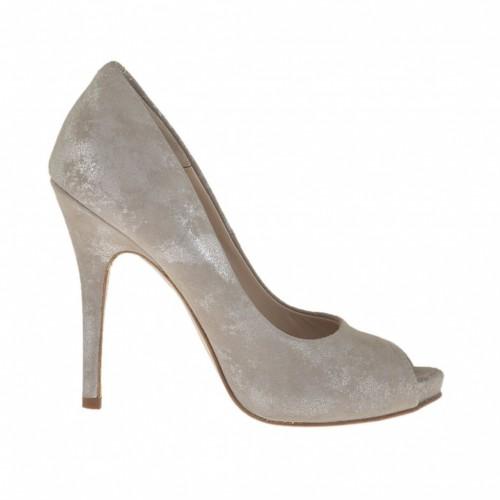 Chaussure ouvert pour femmes avec plateforme en daim taupe et lamé argent talon 11 - Pointures disponibles:  31