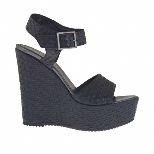 Braided and printed black strap sandal for woman with coated platform and wedge 11 - Available sizes: