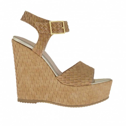 Braided and printed light tan woman's strap sandal with coated platform and wedge 11 - Available sizes:  42, 43