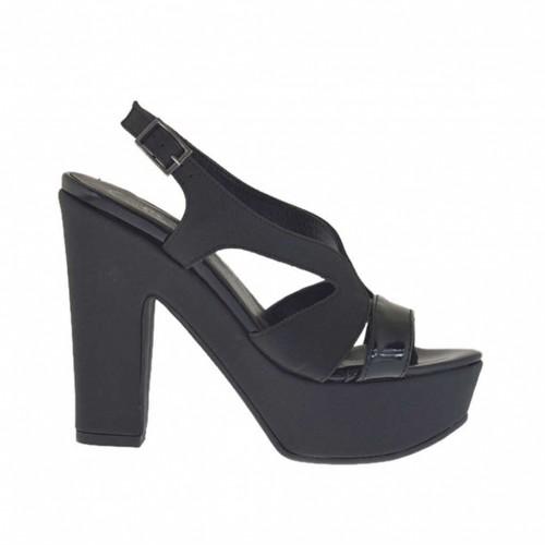 Woman's black printed and varnished platform sandal heel 11 - Available sizes:  31