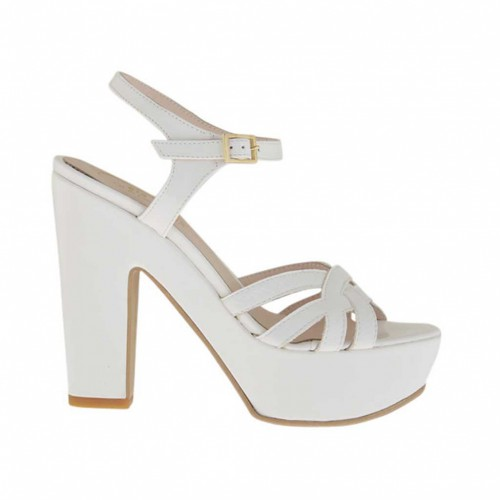 Woman's white and varnished platform strap sandal heel 11 - Available sizes:  43, 46