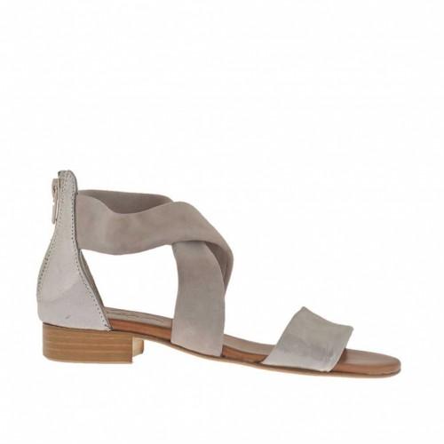 Chaussure ouvert pour femmes avec bandes croisés et fermeture éclair en daim taupe et cuir taupe lamé argent talon 2 - Pointures disponibles:  32