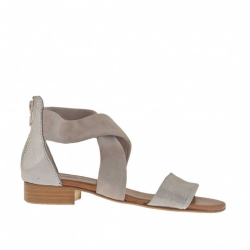 Woman's open shoe with crossed straps and zipper in taupe suede and taupe silver laminated leather heel 2 - Available sizes:  32