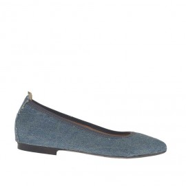 Ballerina da donna con punta sfilata in tessuto blue jeans tacco 1 - Misure disponibili: 32