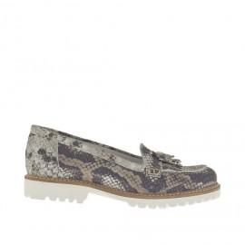 Zapato mocasin para mujer con borlas y flecos en piel negra, gris y gris pardo tacon 2 - Tallas disponibles:  34