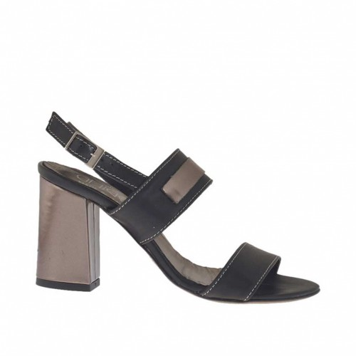 Woman's sandal with accessory in black and gunmetal-colored leather heel 7 - Available sizes:  32, 42, 43