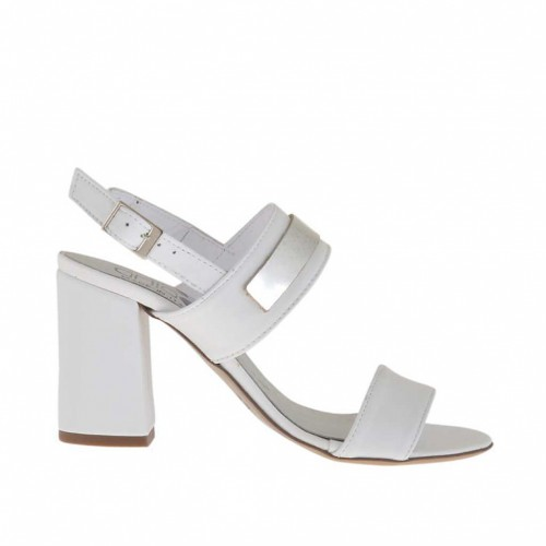 Woman's sandal in white leather with silver accessory heel 7 - Available sizes:  42, 43, 44